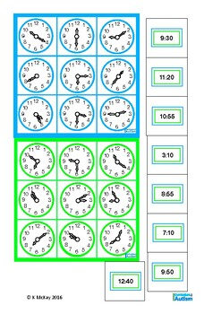 Telling The Time Lotto Game Autism Life Skills