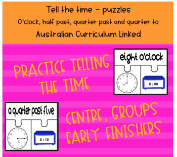 Telling the Time Puzzles Math Centre - Australian Curriculum Aligned