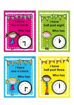 "Telling the time with ""I have... Who has...?"" game"