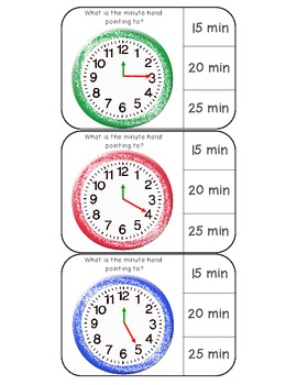 Telling time (:00, :15, :30, :45) clothespin activity cards