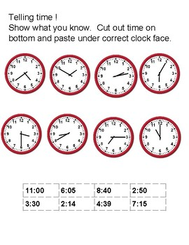 Telling time 15 min, 5 min, 1 min use as final assessment
