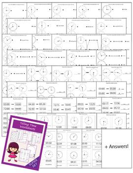 Telling time clock worksheets