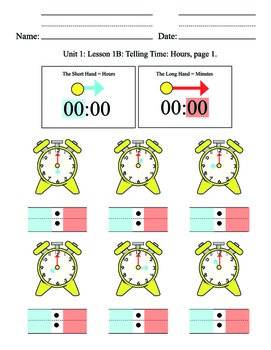 Telling Time Unit 1, hours, elementary, SPED, special education, clock hands