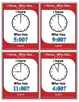 Telling time game, I HAVE... WHO HAS....