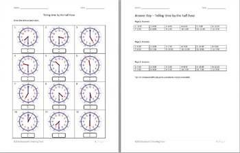 telling time half hour worksheets by stockwell 39 s teaching tools tpt. Black Bedroom Furniture Sets. Home Design Ideas