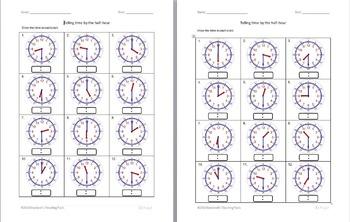 Telling time half hour worksheets