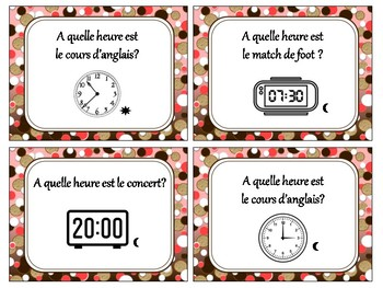 Telling time in French activities, quiz quiz trade, fan & pick in French