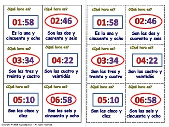 Telling time in Spanish - Lottery (Board game).