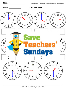 Telling time in numbers and words lesson plans, worksheets and more