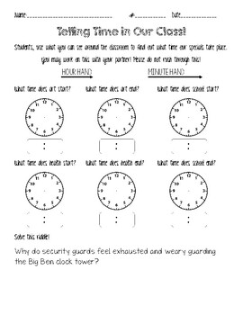 Telling time in our class!