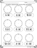 Telling time to half hour printable worksheet analog clock