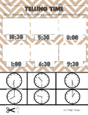 Telling time to half hour printable worksheet analog clock cut and paste