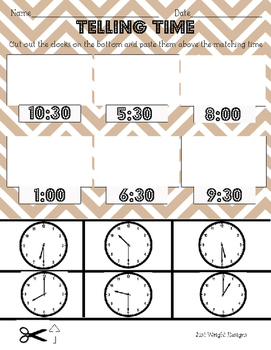 telling time to half hour printable worksheet analog clock cut and paste. Black Bedroom Furniture Sets. Home Design Ideas