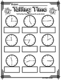 Telling time to quarter hour analog clock printable worksheet