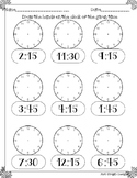 Telling time to quarter hour printable worksheet analog clock