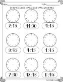 Telling time to quarter hour printable worksheet analog clock