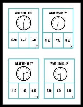 Telling time to the Half Hour! (Autism and Special Education/Early Elementary)