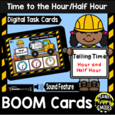 Telling time to the Hour and Half Hour BOOM Cards:  Construction Theme