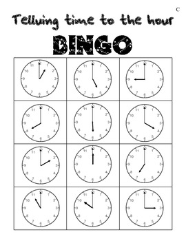 Telling time to the hour BINGO in Spanish and English