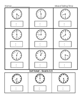 Telling time - to the hour and half hour
