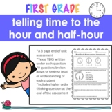 Telling time to the hour and half hour assessment