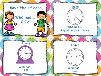 I Have Who Has Telling Time Game for Telling Time to the Minute 3.MD.1