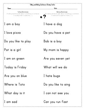 Telling vs Asking Sentences Center Activity