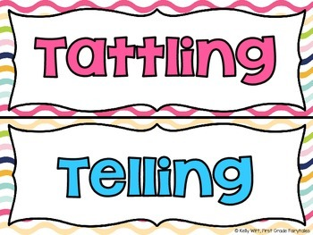 Telling vs. Tattling Sorting Cards