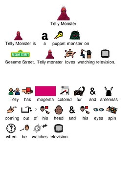 Telly Monster - Sesame Street picture supported text lesson questions
