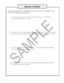 Tema: Suma y Resta problemas verbales (Spanish word problems)
