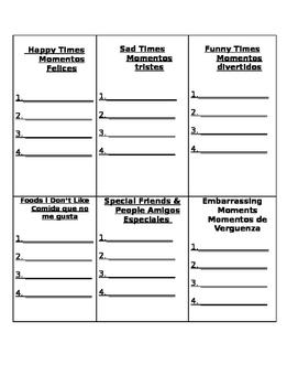 Temas para escribir/Writing topics