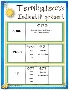 Teminaisons des verbes / verbs