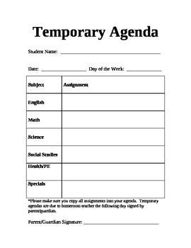 Temp Agenda Page