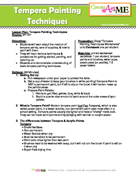Tempera Painting Techniques Lesson Plan and Worksheet