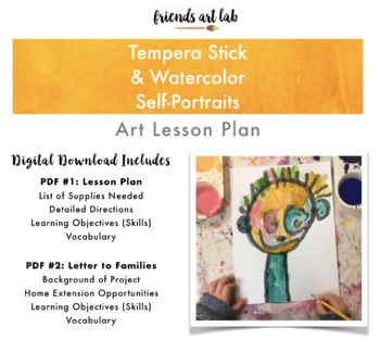 Tempera Stick & Watercolor Self-Portraits (Art, All About Me, Classroom Decor)