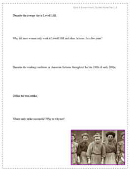 Temperance Movement to the Gold Rush Guided Notes Packet