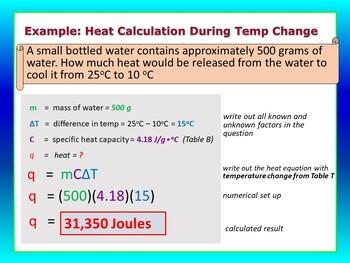 Temperarue, Heat Flow, Heat Calculations - Teaching & Review PPT Lesson #3