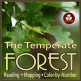 Temperate Forest Reading, Mapping, Color by Number for Distance Learning