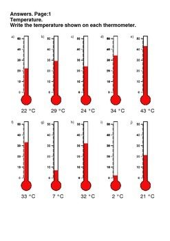 Temperature Worksheets