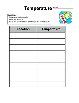 Temperature Activity Sheet