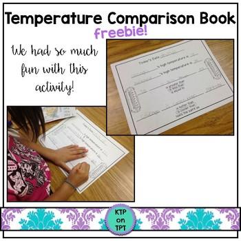 Temperature Comparison Freebie (class book for math and science fun!)