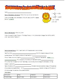 Temperature Conversions, Heat Equation, and Thermal Energy Quiz