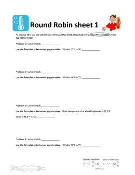 Temperature Conversions Round Robin Activity
