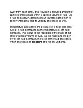 Temperature Effects on Fluids Common Core Reading and Writing Activities