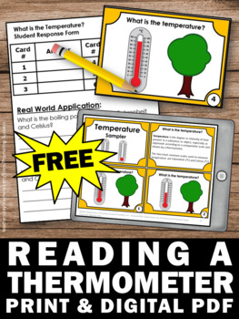 FREE Temperature Task Cards, Reading a Thermometer, Fahrenheit & Celsius