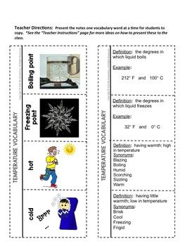 Temperature Vocabulary Interactive Notebook