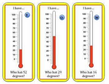 Temperature I Have...Who Has Activity