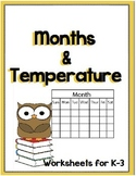 Temperature, Months, Seasons and Days of the Week NO PREP Worksheets