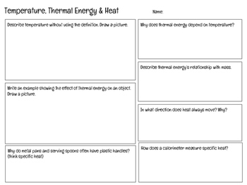 Temperature, Thermal Energy & Heat