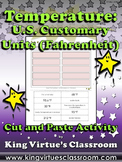 Temperature: U.S. Customary Units (Fahrenheit) Cut and Paste Activity